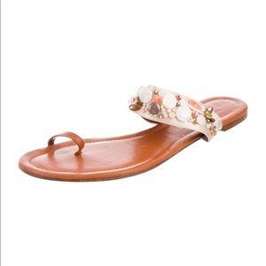 💯 Oscar de la Renta beaded satin sandals - EUC